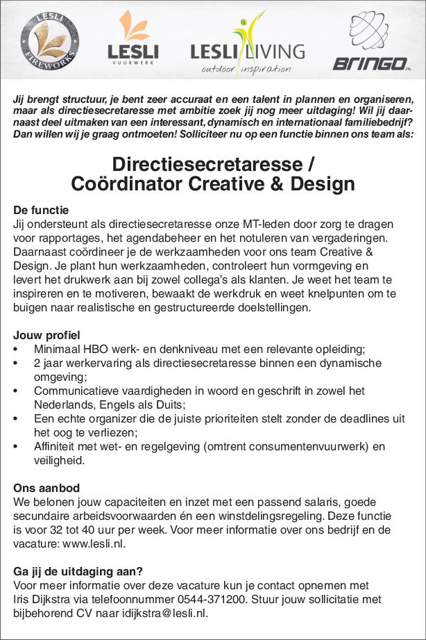 Directiesecretaresse Coördinator Creative Design Mv