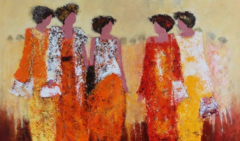 Schilderijen van Anne kenmerken zich door één terugkerend thema: vrouwen. Foto: Anne von Drehle