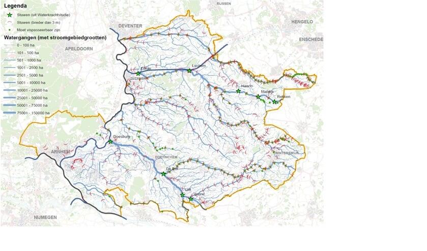 Een kaart met mogelijke locaties. Foto: WRIJ