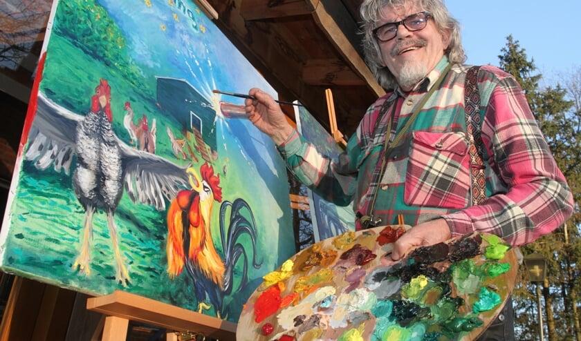 Bennie Jolink in zijn element achter de schildersezel.