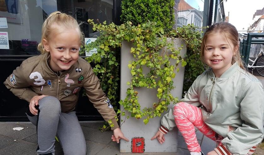Guusje (l) en Salomé hebben een kabouterdeurtje ontdekt in Groenlo. foto: Kyra Broshuis