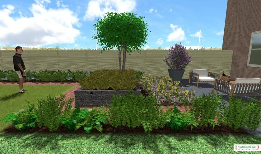Screenshot van een 3D animatiefilm van een tuinontwerp. Afbeelding: PR
