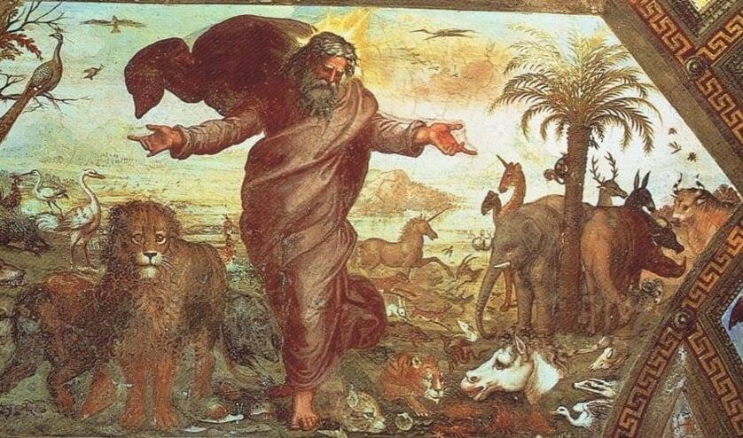 God schept de dieren; een schilderij van de Italiaanse schilder Rafaël (Raffaello Sanzio, 1483 - 1520). Foto: PR