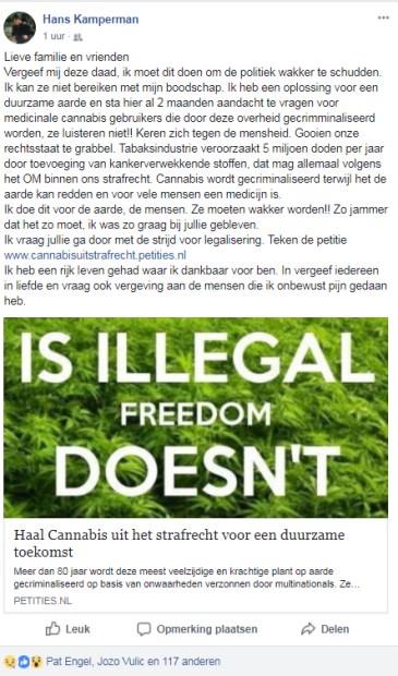 Een afbeelding van het Facebook-bericht.