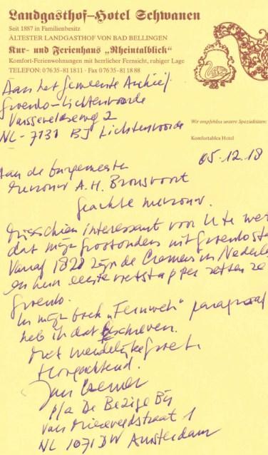 De brief waarmee het eind vorig jaar begon. Foto: PR