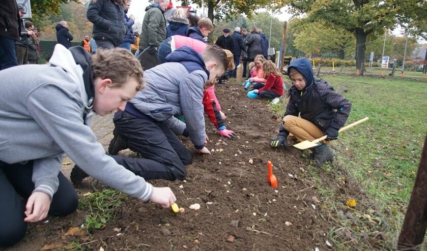 De kinderen planten de bloembollen. Foto: Frank Vinkenvleugel