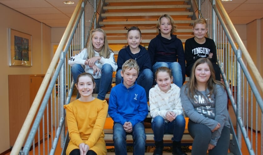 Van links naar rechts, onderste rij: Teuntje, Moritz, Mirthe, Laura; bovenste rij: Cora, Felix, Jayden, Yme. Foto: Frank Vinkenvleugel