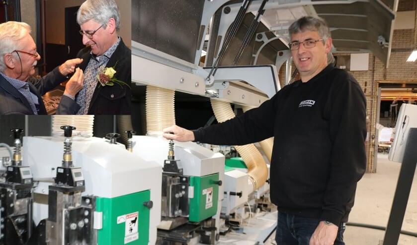 Martus Wolferink bij zijn profielmachine. Inzet: van Hans Kreunen ontvangt de jubilaris een gouden speld met briljant van Bouwend Nederland