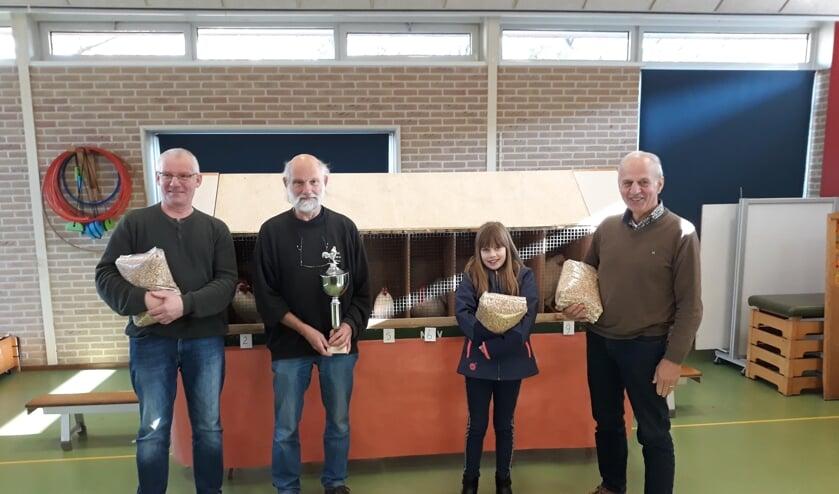 De winnaars, vlnr: Dick Rutgers, Jan Krooshof, Mirthe Haijtink en Wim Vaarhorst.