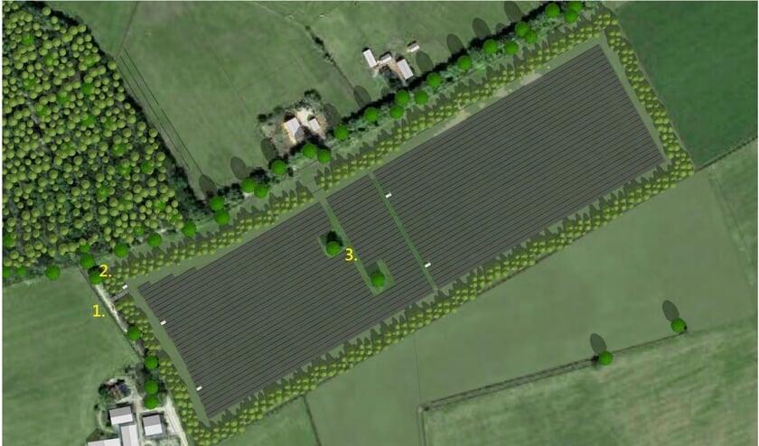 <p>De inpassing van het zonnepark aan de Vredenseweg in Groenlo.</p>