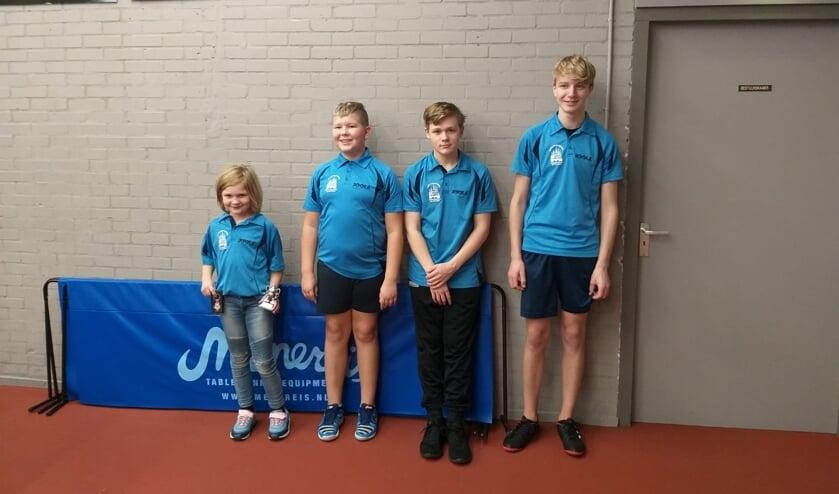 Fabienne, Jan, Tim en Kalle (vlnr) werden kampioen. Foto: PR