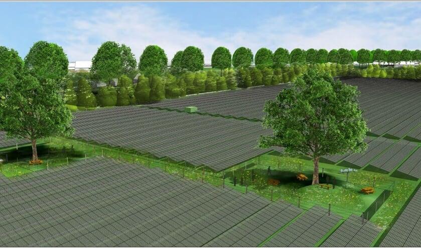 Impressie van het zonnepark aan de Vredenseweg in Groenlo.
