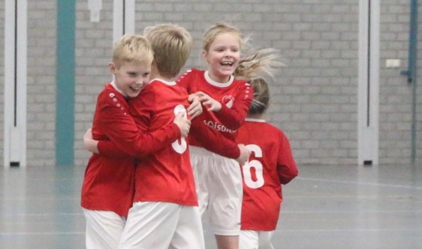 Vreugde bij een doelpunt of een overwinning. Foto; Jaime Lebbink