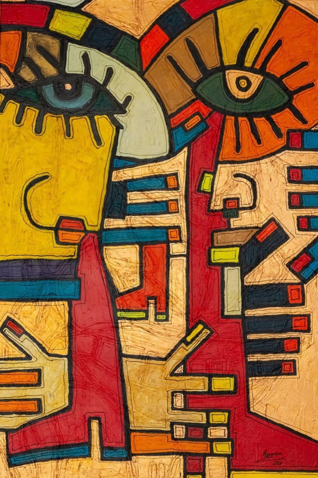 Het winnende schilderij 'Colombia', 1997-2008, acryl en olieverf op linnen, 160 x 100 cm. Foto: PR  © Achterhoek Nieuws b.v.