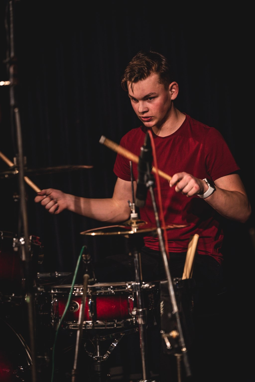 Mats Kuiperij achter de drums. Foto: Rick Mellink Foto: Rick Mellink © Achterhoek Nieuws b.v.