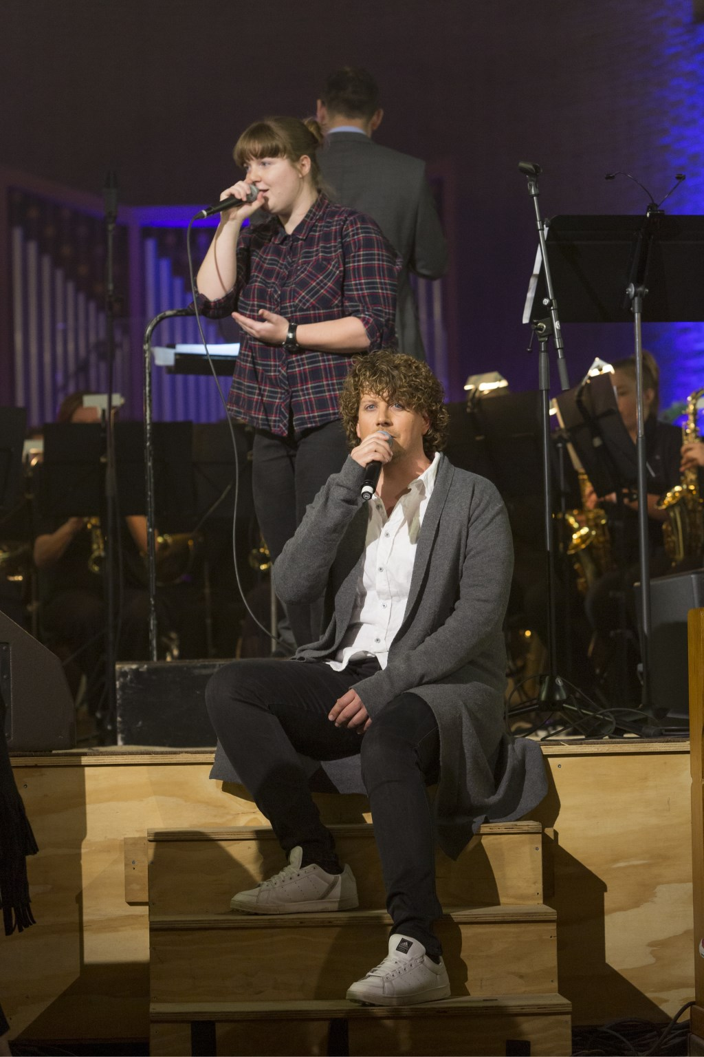 Rutger de Vries en Svenja Agelink tijdens de uitvoering van the Passion. Foto: Geert Leemkuil
