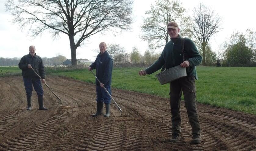 Erwin Dijkman zaait het 'zomergloed' langs een van de weilanden in 't Zwiepse Broek. Jan Dinkelman en Henk van Bindsbergen harken het zaadmengsel in. Foto: Jan Hendriksen,
