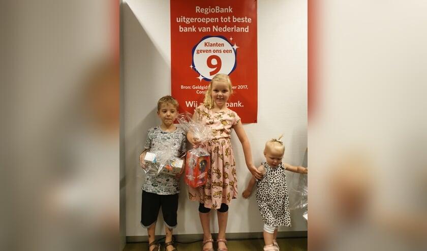 Prijswinnaars Meimarkt Zutphen, v.l.n.r.: Bram, Sophia en Milena. Foto: PR