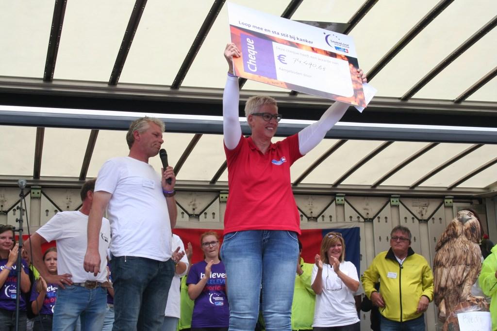 Ingrid te Veldhuis neemt de cheque in ontvangst. Foto Verona Westera  © Achterhoek Nieuws b.v.