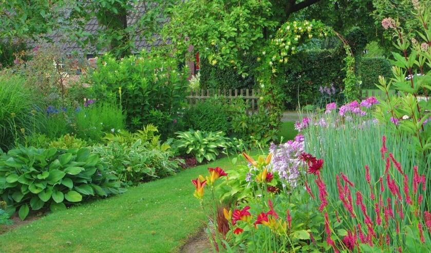Tuin 'De Valk' aan de Buitenvelderweg 2 in Ruurlo is een romantische landschappelijk tuin van ruim 5000 vierkante meter met heel veel borders. Foto: PR.