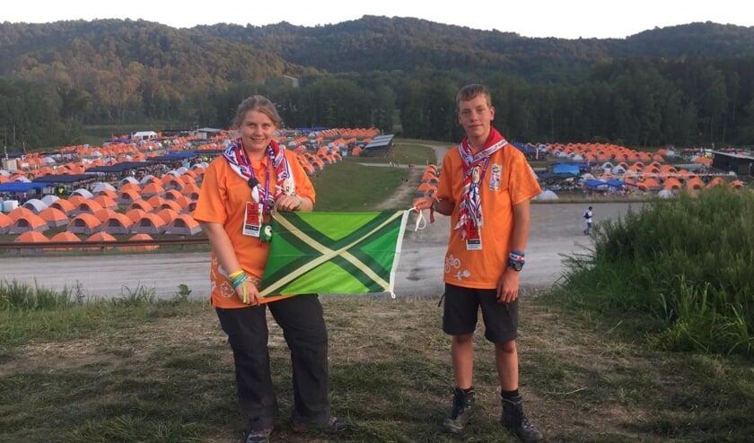Eline van Dam en Loek Apenhorst tijdens de wereldjamboree in Amerika. Foto: Scouting Winterswijk