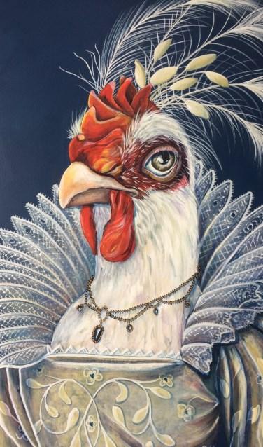 De kip is op weg naar het feest in kledij uit een rijk verleden. Foto: Annie Elisssen-Groot Tjooitink
