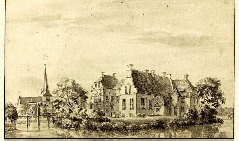 Tekening uit 1743 van Jan de Beijer van het kasteel in Lichtenvoorde met op de achtergrond de Johanneskerk. Bron: archief Johanneskerk