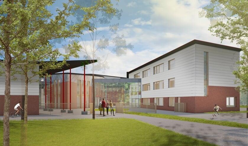 Nieuwe vleugel Vrije school Zutphen. Artist impression van architect Thomas Rau