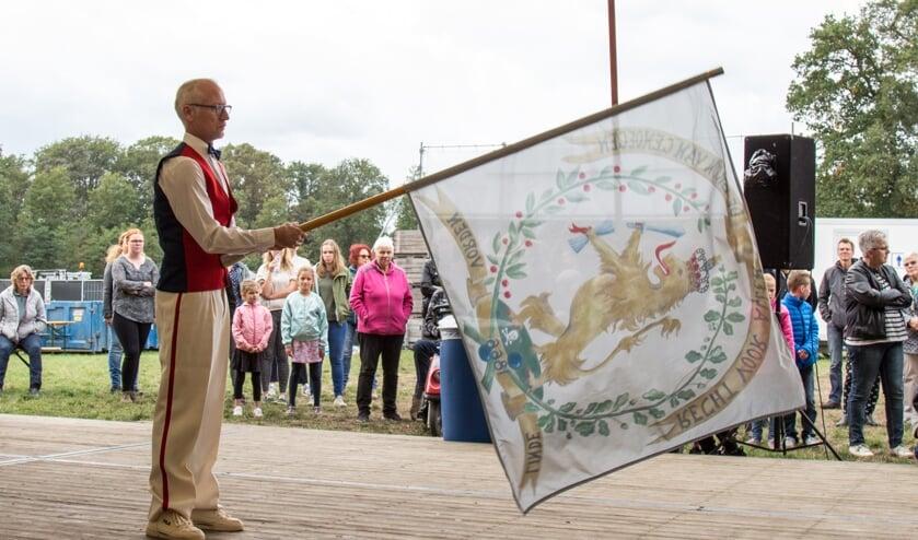 Het vaandel dat jaarlijks tijdens het Lindesfeest wordt gezwaaid.Foto: PR