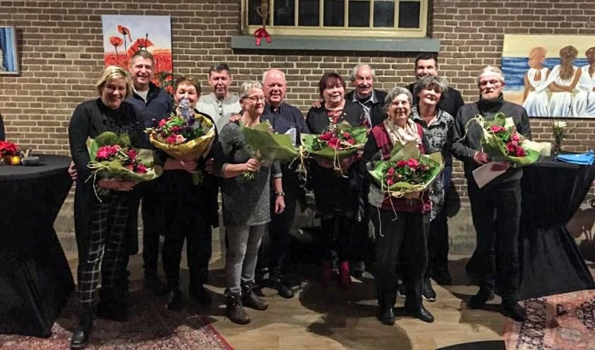 De jubilarissen van Muziekvereniging Hummelo en Keppel gehuldigd. Foto: PR