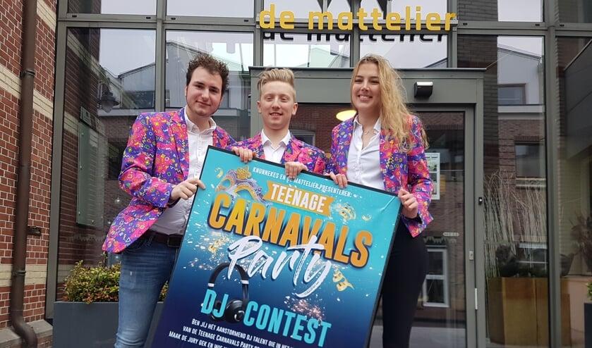 Vlnr: Corné Prins, Menno Huisman en Meg Nijenhuis verwachten dat het weer storm gaat lopen bij de DJ-contest.