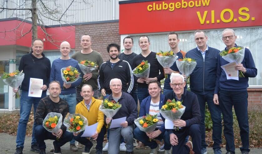 Een aantal gehuldigde leden van VIOS tijdens de nieuwjaarsreceptie.