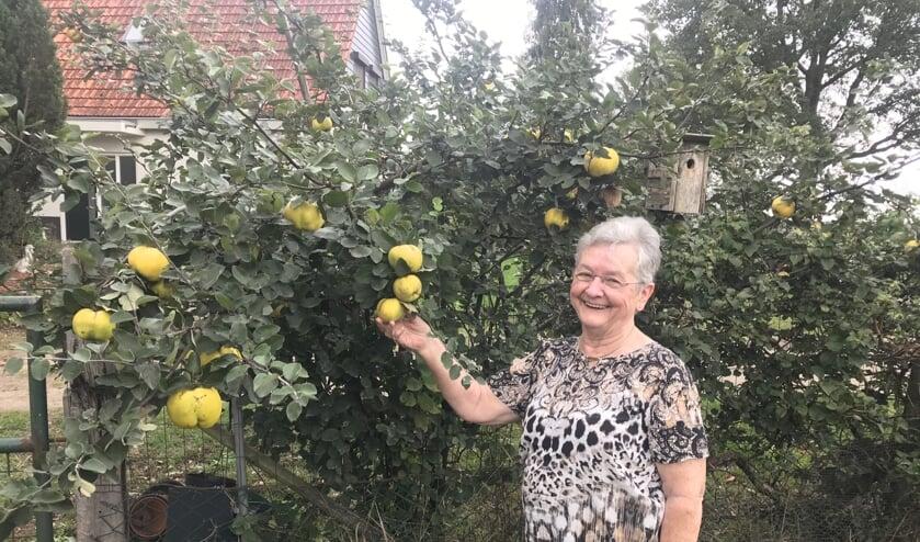 <p>Ria Olijslager in haar tuin bij de kweepeerbomen.</p>