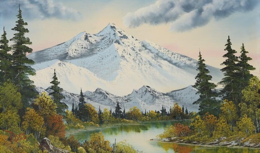 <p>Bob Ross, Mountain Summit circa 1987 (niet uit de tv-show). Collectie Tiqets (NL). Beeld:: Bob Ross Inc. Foto Peter Cox.</p>