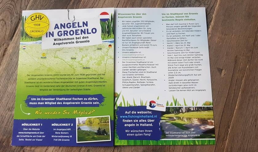 <p>Voor- en achterzijde van de Duitstalige flyer van de GHV. Foto: PR GHV</p>