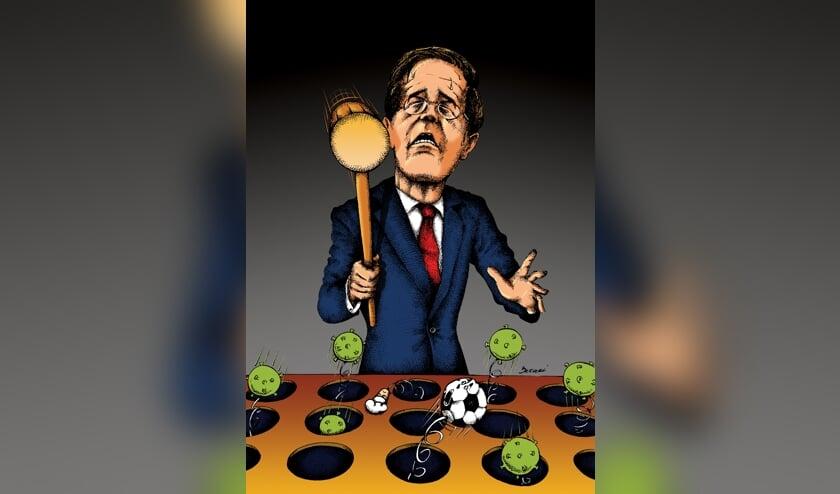 <p>Volgens premier Rutte is er een grote hamer nodig om het virus eronder te krijgen. Vooralsnog lijken de voetbalclubs uit de regio de klap op te kunnen vangen. Illustratie: Ehsan Bazaei</p>