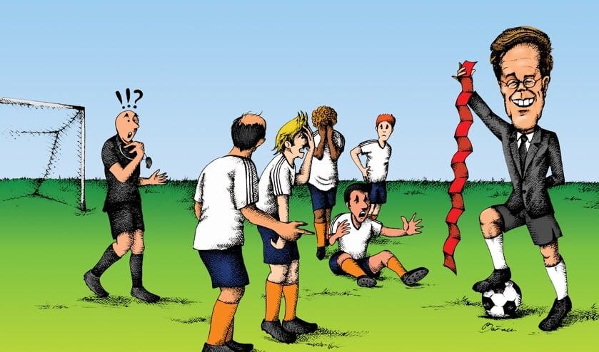 <p>Om het coronavirus te bestrijden, besloot het kabinet het amateurvoetbal aan banden te leggen. Illustratie: Ehsan Bazaei</p>