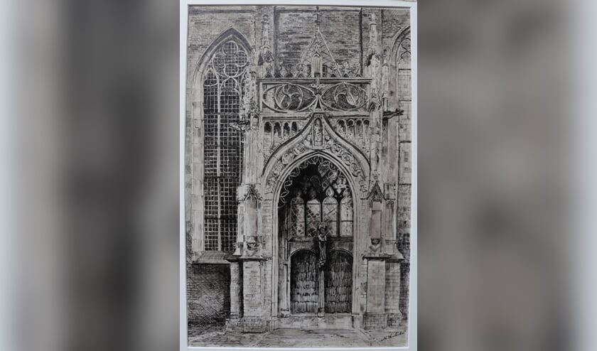 <p>Pentekening (38x25 cm) gemaakt door M. Hulsebos van het Mariaportaal van de Walburgiskerk in Zutphen. Foto: Priv&eacute;collectie</p>