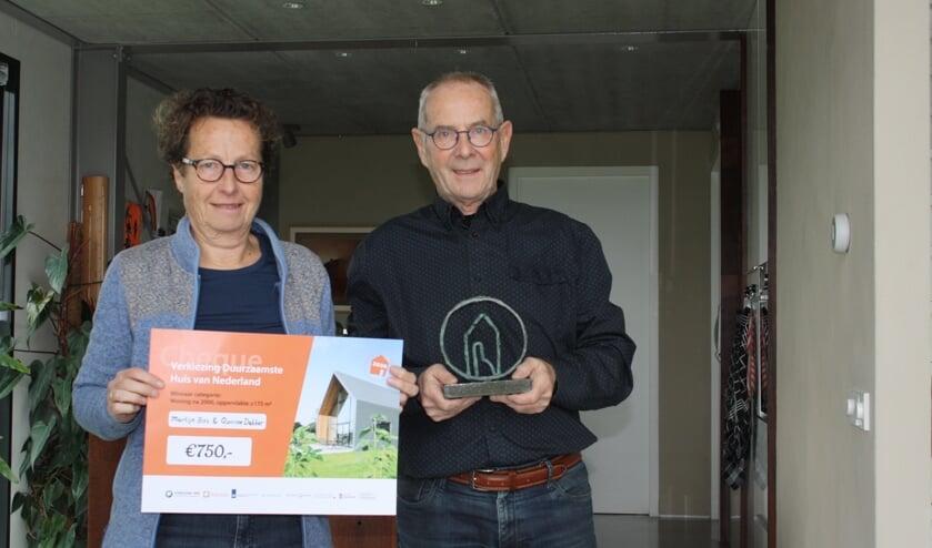 <p>Martijn Bos en Quirine Dekker wonnen met hun nul-op-de-meter woning de titel &#39;Duurzaamste huis van Nederland&#39; in de categorie na 2000 met een inhoud &gt;175m2. Eigen foto</p>