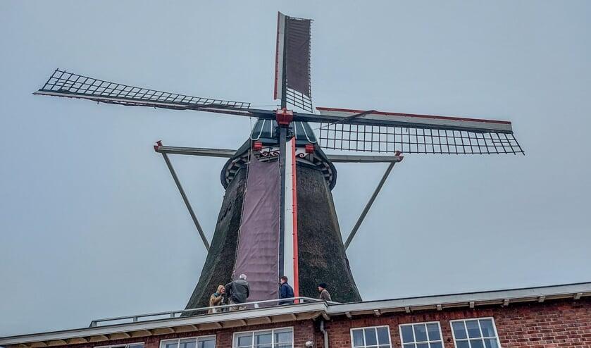 Op de Lindesche Molen worden de examenkandidaten bevraagd over de werking van de molen. Foto: Natasja Klein Nulent