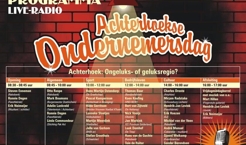 <p>Het programma van de Achterhoekse Ondernemersdag. Afbeelding: PR</p>