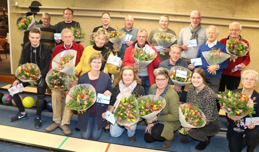 Winnaars van duo-kegeltoernooi. Foto: Arjen Dieperink