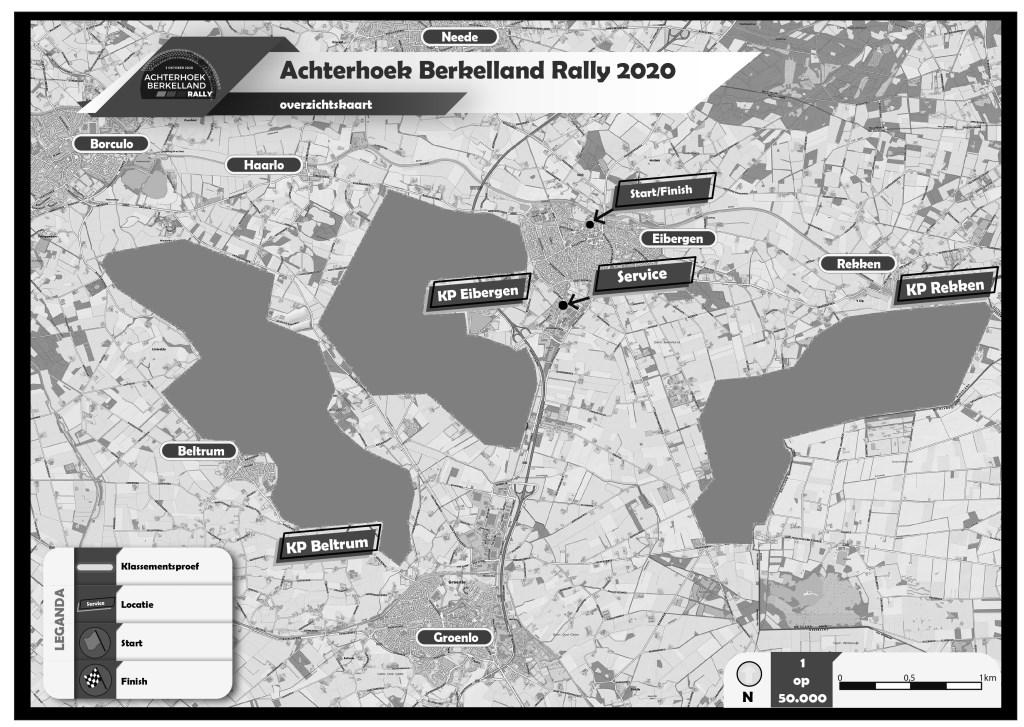 Het vlekkenplan van de Achterhoek Berkelland Rally. Foto: PR  © Achterhoek Nieuws b.v.