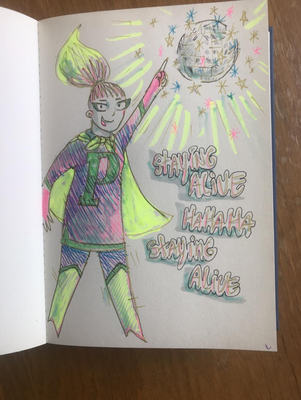 De superheld waar Patricia stripjes van maakt. Het houdt haar in leven, en de wereld ook! Barbara Pavinati © Achterhoek Nieuws b.v.