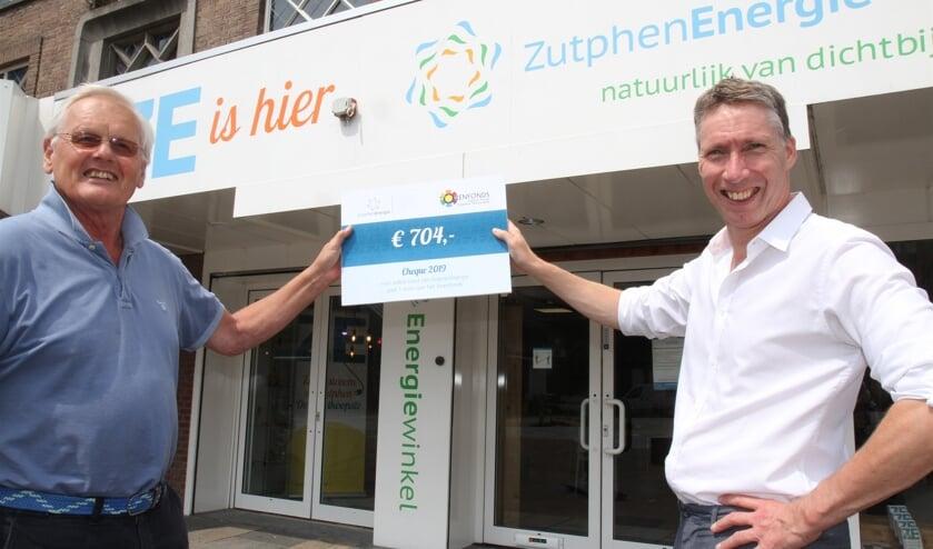 Wouter van de Wall Bake van ZutphenEnergie overhandigt een cheque van 704 euro aan Jan van Breda van het Torenfonds. Foto: PR