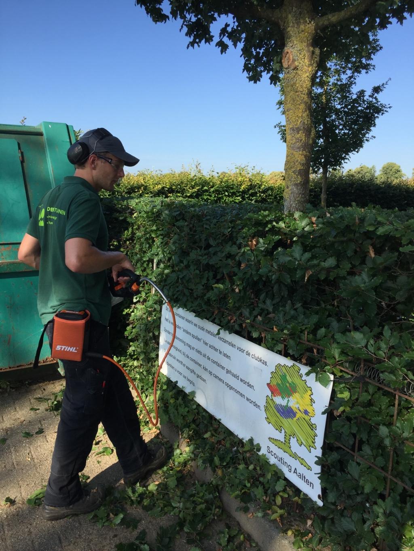 Joris de Bree bezig met de snoeiwerkzaamheden. Foto: PR  © Achterhoek Nieuws b.v.
