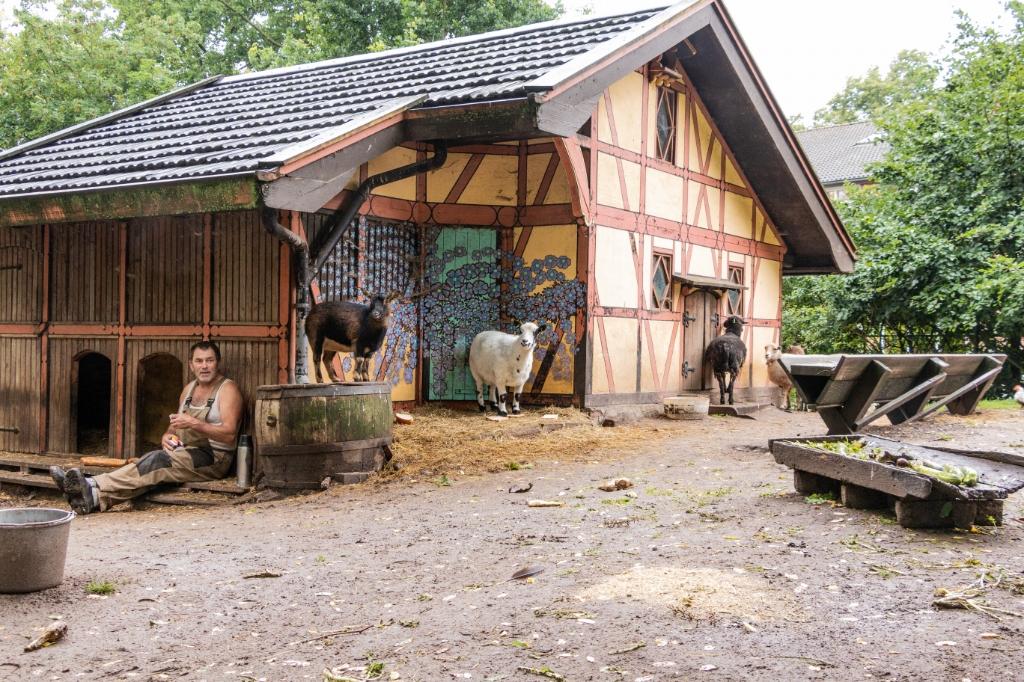 Eco's zelfgebouwde onderkomen voor zijn geliefde dieren. Foto: Henk Derksen  © Achterhoek Nieuws b.v.