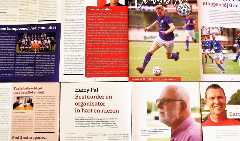 Het vernieuwde clubblad van fusieclub S.V. Grol ziet er professioneel uit. Foto: Theo Huijskes