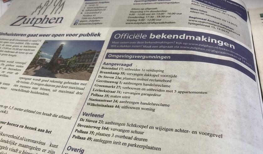 De gemeente Zutphen publiceert de openbare bekendmakingen voorlopig nog in de krant. Foto: Achterhoek Nieuws