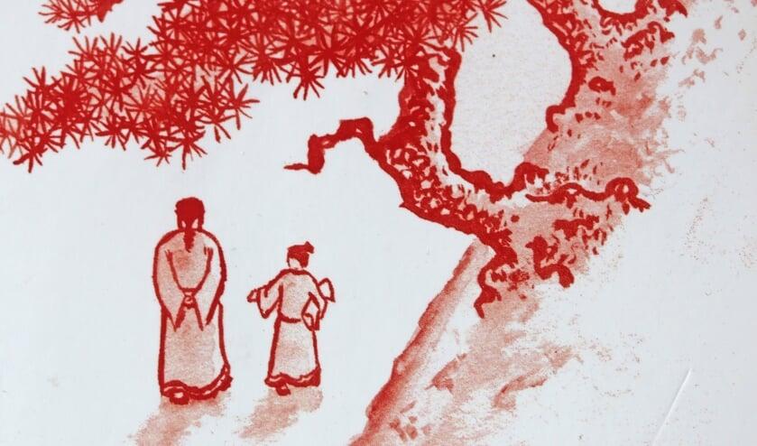 Een illustratie uit het boek Wandelen met meester Li.